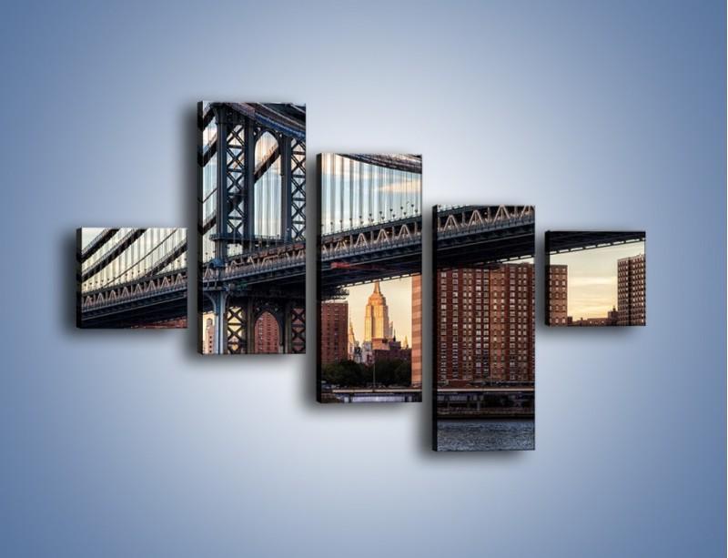 Obraz na płótnie – Manhattan Bridge – pięcioczęściowy AM607W3