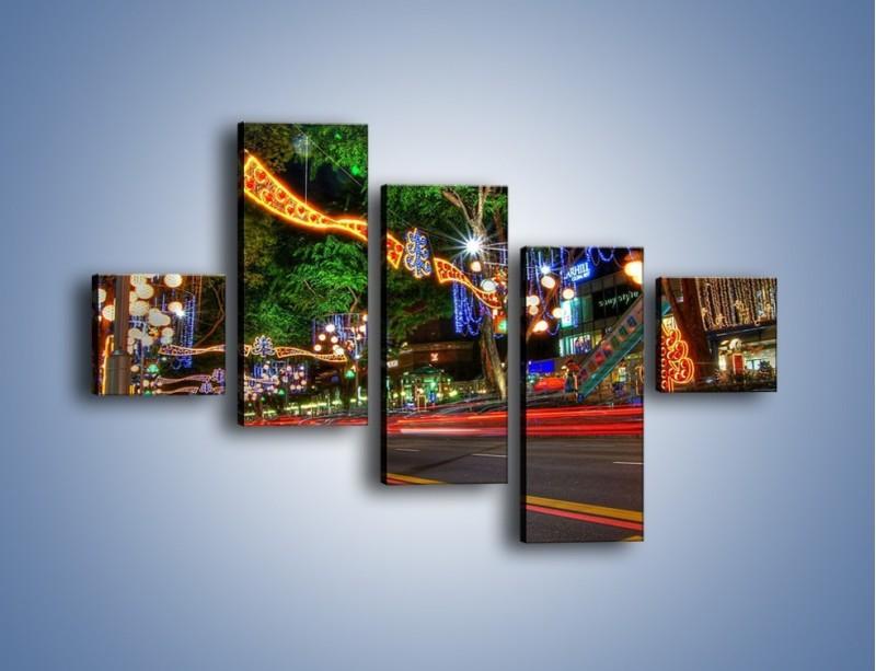 Obraz na płótnie – Noworoczne dekoracje w Singapurze – pięcioczęściowy AM616W3