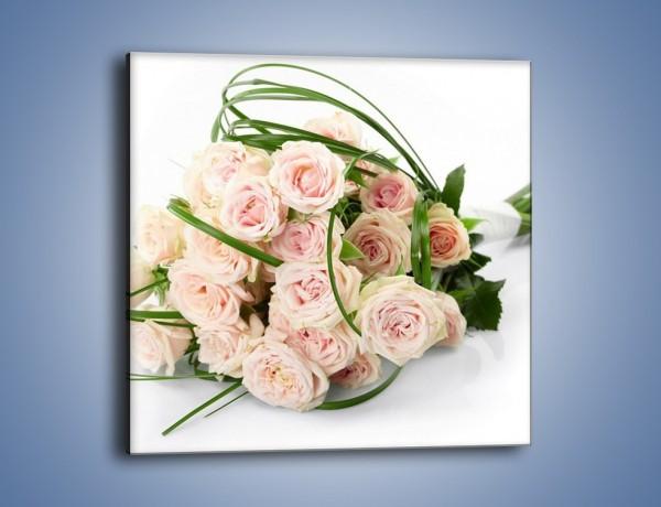 Obraz na płótnie – Wiązanka delikatnie różowych róż – jednoczęściowy kwadratowy K012