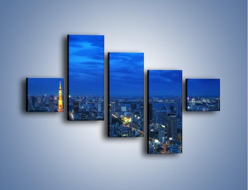 Obraz na płótnie – Tokyo Tower w Japonii – pięcioczęściowy AM621W3