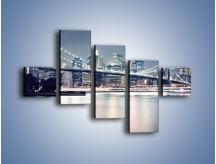 Obraz na płótnie – Most Brookliński w jasnych kolorach – pięcioczęściowy AM627W3