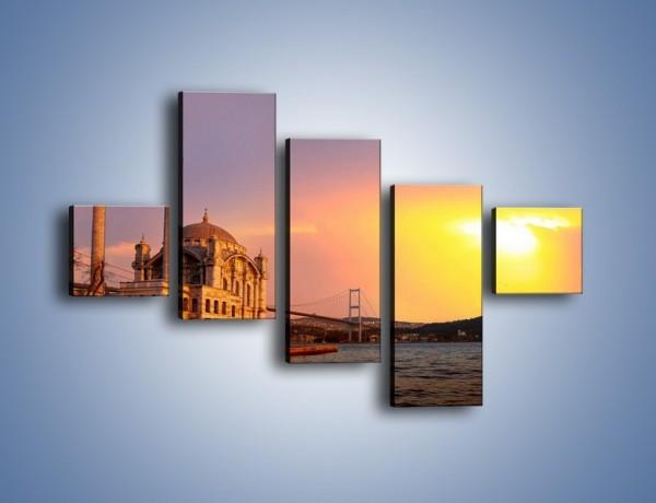 Obraz na płótnie – Meczet w blasku zachodzącego słońca – pięcioczęściowy AM655W3