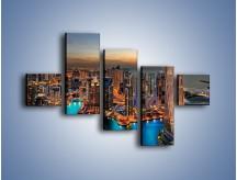 Obraz na płótnie – Centrum Dubaju wieczorową porą – pięcioczęściowy AM656W3
