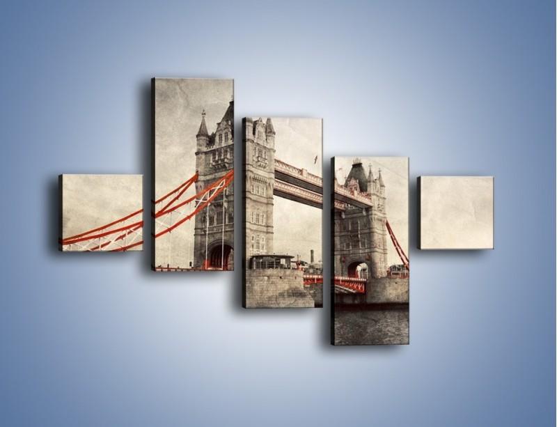 Obraz na płótnie – Tower Bridge w stylu vintage – pięcioczęściowy AM668W3