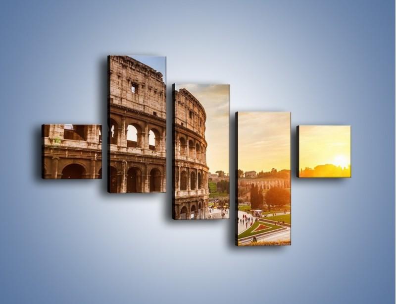 Obraz na płótnie – Rzymskie Koloseum o zachodzie słońca – pięcioczęściowy AM684W3