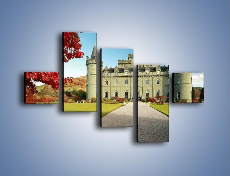Obraz na płótnie – Zamek Inveraray w Szkocji – pięcioczęściowy AM691W3