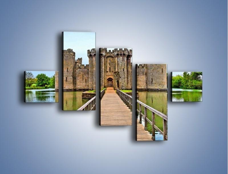 Obraz na płótnie – Zamek Bodiam w Wielkiej Brytanii – pięcioczęściowy AM692W3