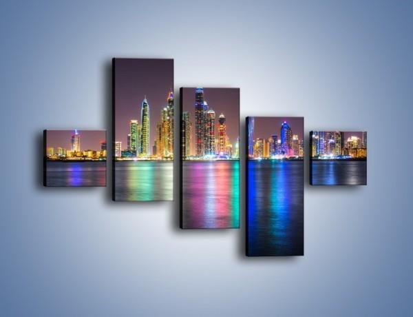 Obraz na płótnie – Kolorowe drapacze chmur w Dubaju – pięcioczęściowy AM724W3