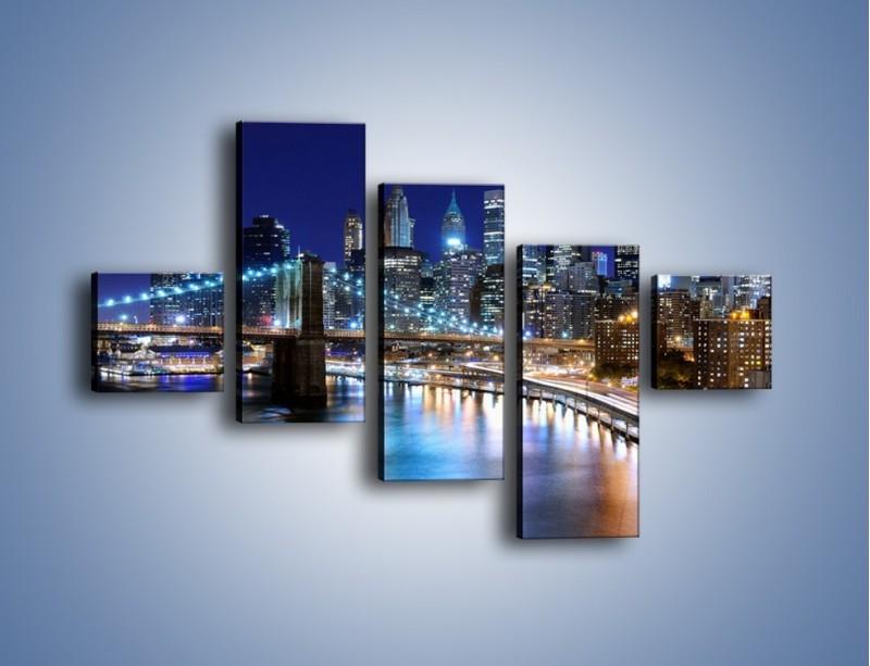 Obraz na płótnie – Nocne światła Nowego Yorku – pięcioczęściowy AM726W3