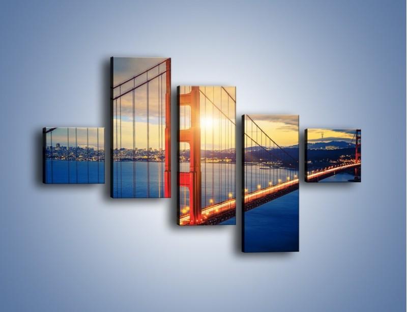Obraz na płótnie – Zachód słońca nad Mostem Golden Gate – pięcioczęściowy AM738W3
