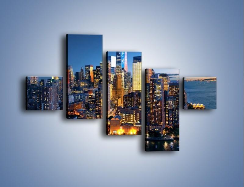 Obraz na płótnie – Zmierzch nad Manhattanem – pięcioczęściowy AM749W3