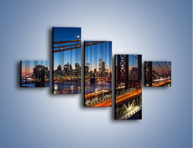 Obraz na płótnie – Nowojorskie mosty na tle Manhattanu – pięcioczęściowy AM751W3