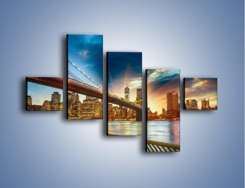 Obraz na płótnie – Most w Nowym Jorku o zmierzchu – pięcioczęściowy AM754W3