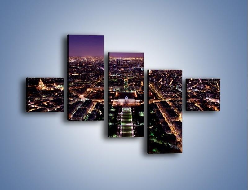 Obraz na płótnie – Panorama Paryża z Wieży Eiffla – pięcioczęściowy AM764W3
