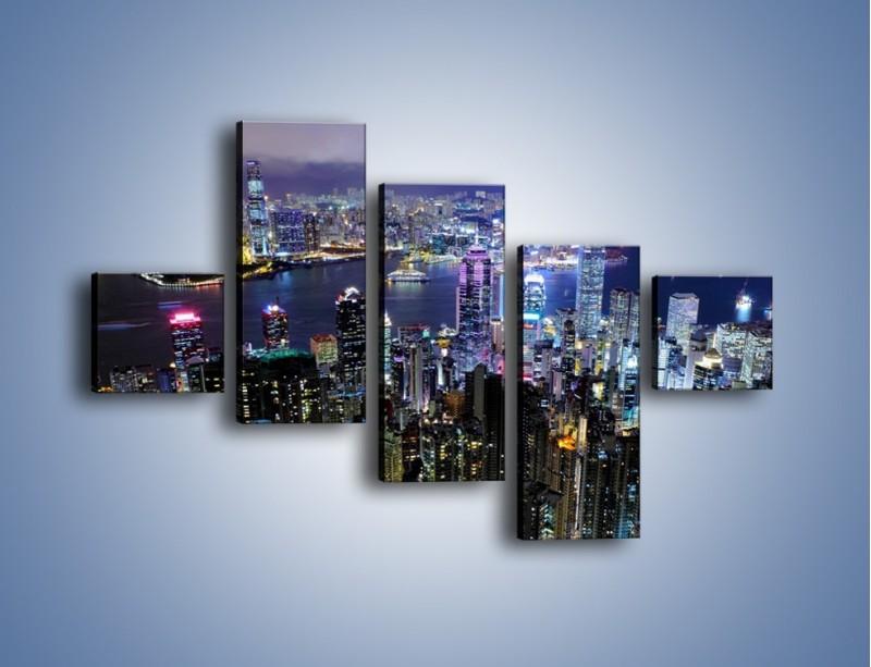 Obraz na płótnie – Nocna panorama Hong Kongu – pięcioczęściowy AM772W3