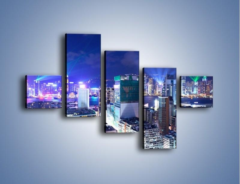 Obraz na płótnie – Pokaz laserów nad Hong Kongiem – pięcioczęściowy AM796W3