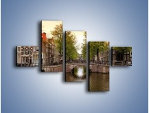 Obraz na płótnie – Amsterdamski kanał – pięcioczęściowy AM800W3