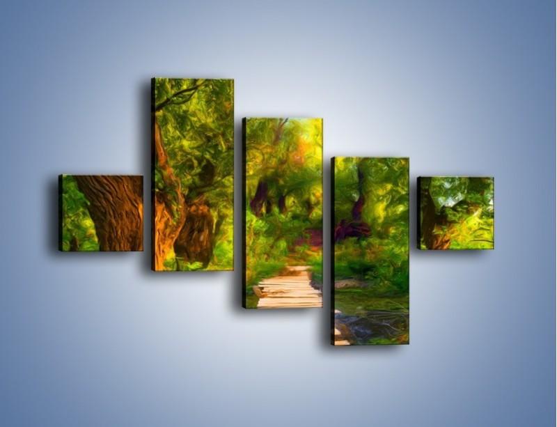 Obraz na płótnie – Drewniana kładka przez las – pięcioczęściowy GR007W3