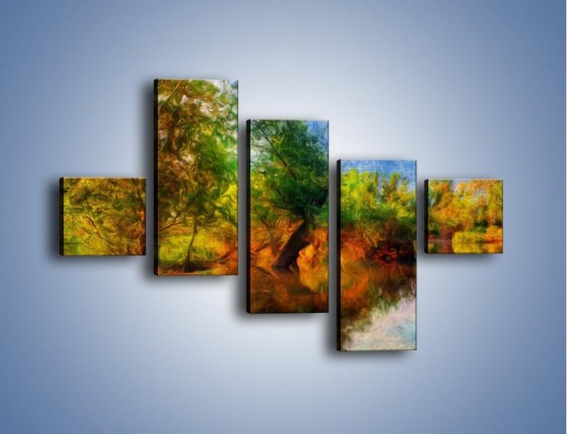 Obraz na płótnie – Drzewa w wodnym lustrze – pięcioczęściowy GR010W3
