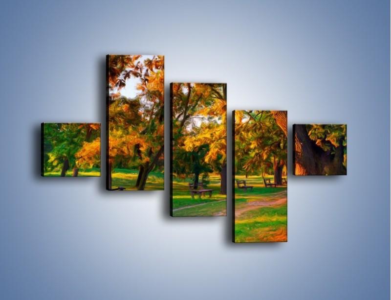 Obraz na płótnie – Ławeczka w parku – pięcioczęściowy GR011W3