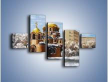 Obraz na płótnie – Cerkiew w trakcie zimy – pięcioczęściowy GR024W3