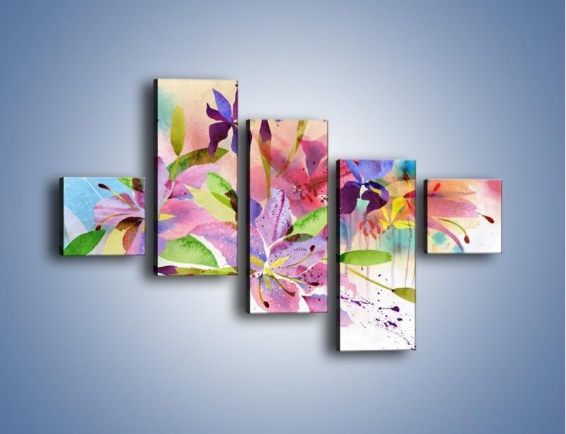 Obraz na płótnie – Kolory zachowane w kwiatach – pięcioczęściowy GR043W3