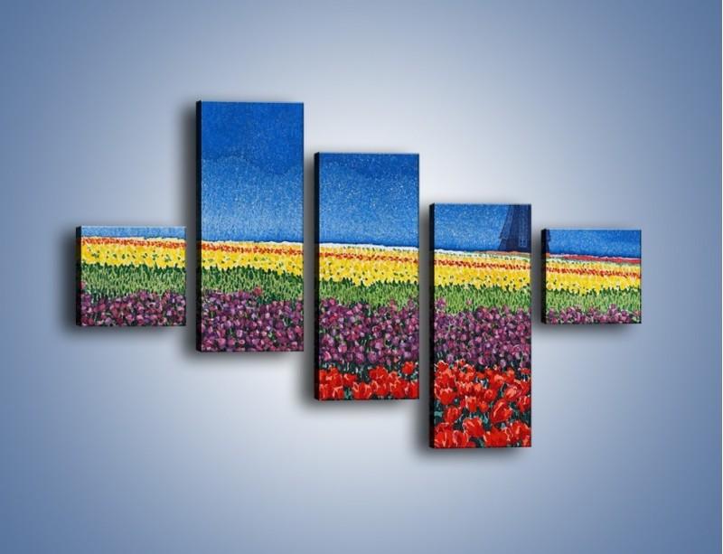 Obraz na płótnie – Spacer przez kolorowe maki – pięcioczęściowy GR049W3