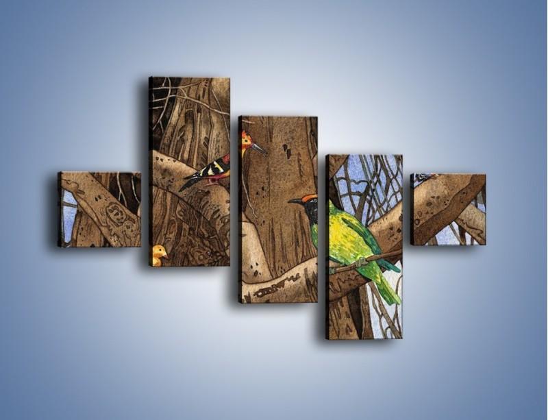 Obraz na płótnie – Mali przyjaciele na drzewie – pięcioczęściowy GR050W3