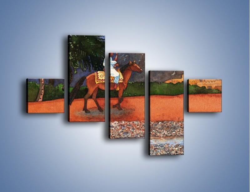 Obraz na płótnie – Arabski szejk na koniu – pięcioczęściowy GR052W3