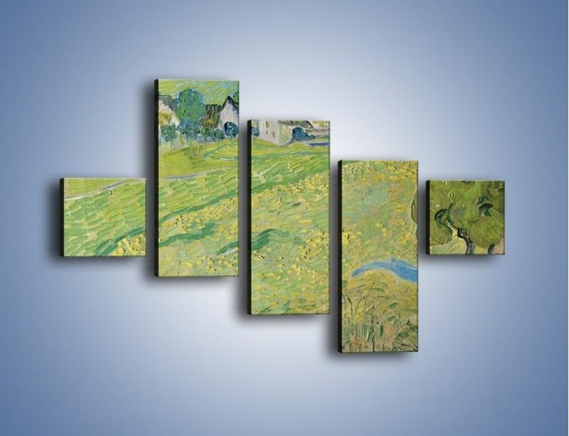 Obraz na płótnie – Łąka i małe domki – pięcioczęściowy GR105W3