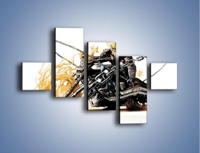 Obraz na płótnie – Mroczna postać na motorze – pięcioczęściowy GR167W3