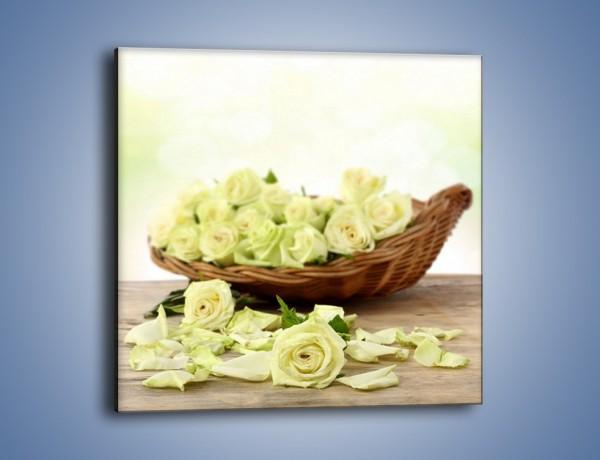 Obraz na płótnie – Kosz ściętych główek róż – jednoczęściowy kwadratowy K021