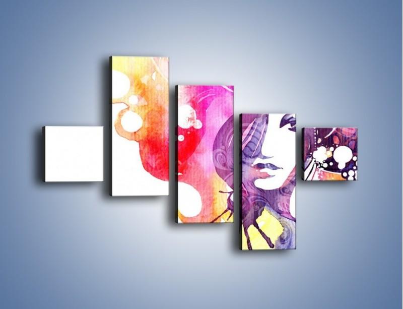 Obraz na płótnie – Barwy w otoczeniu kobiety – pięcioczęściowy GR296W3
