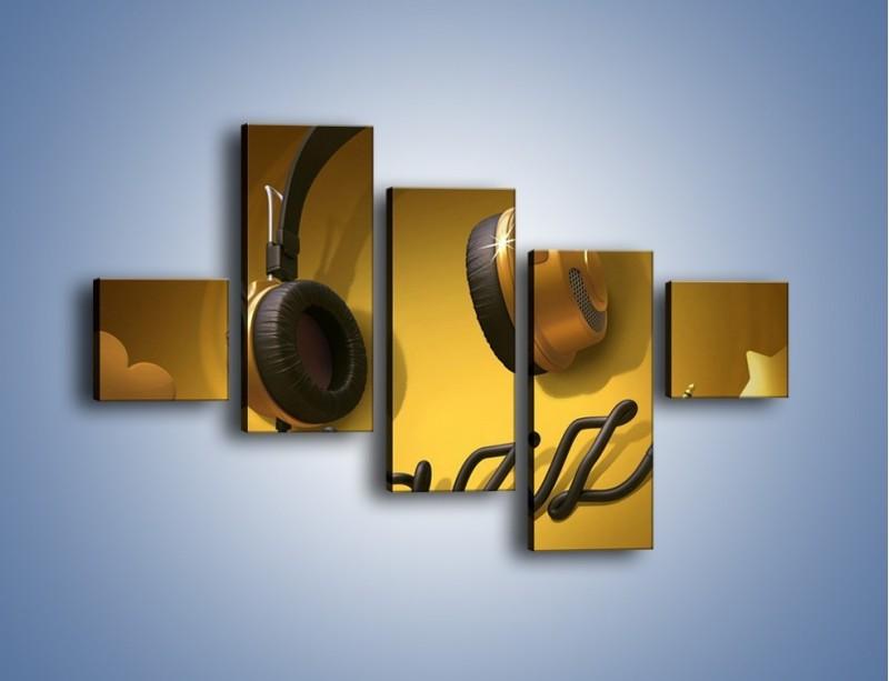 Obraz na płótnie – Złote nuty jazzu – pięcioczęściowy GR305W3