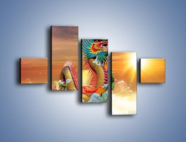 Obraz na płótnie – Smok cały w kolorach – pięcioczęściowy GR312W3