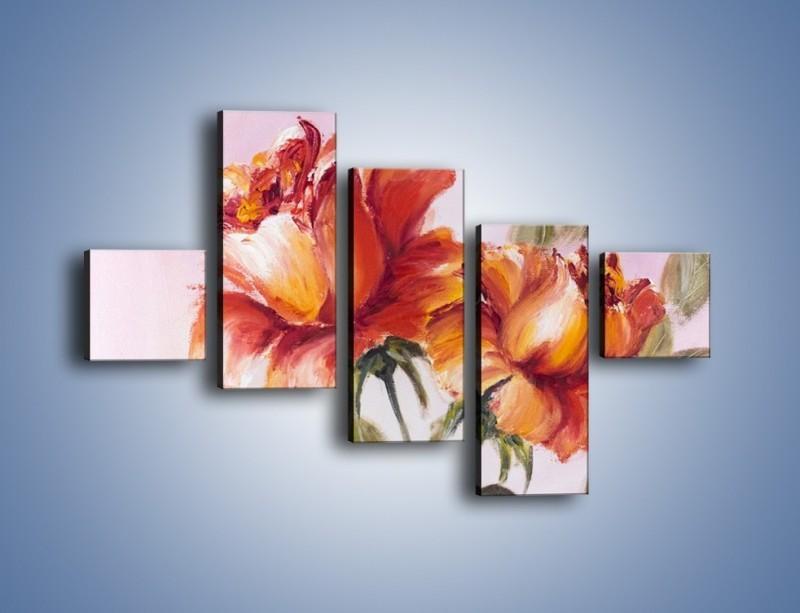 Obraz na płótnie – Kwiaty na płótnie malowane – pięcioczęściowy GR322W3
