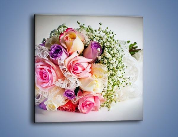 Obraz na płótnie – Wiązanka ślubna z róż – jednoczęściowy kwadratowy K022