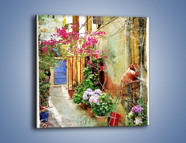 Obraz na płótnie – Uliczka pełna kwiatów vintage – jednoczęściowy kwadratowy AM195