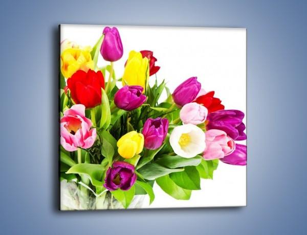 Obraz na płótnie – Kolorowe tulipany w pęku – jednoczęściowy kwadratowy K023