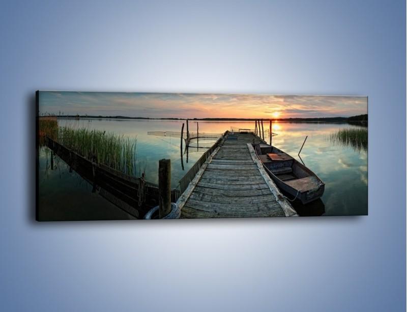 Obraz na płótnie – Stary most i łódź – jednoczęściowy panoramiczny KN1096A