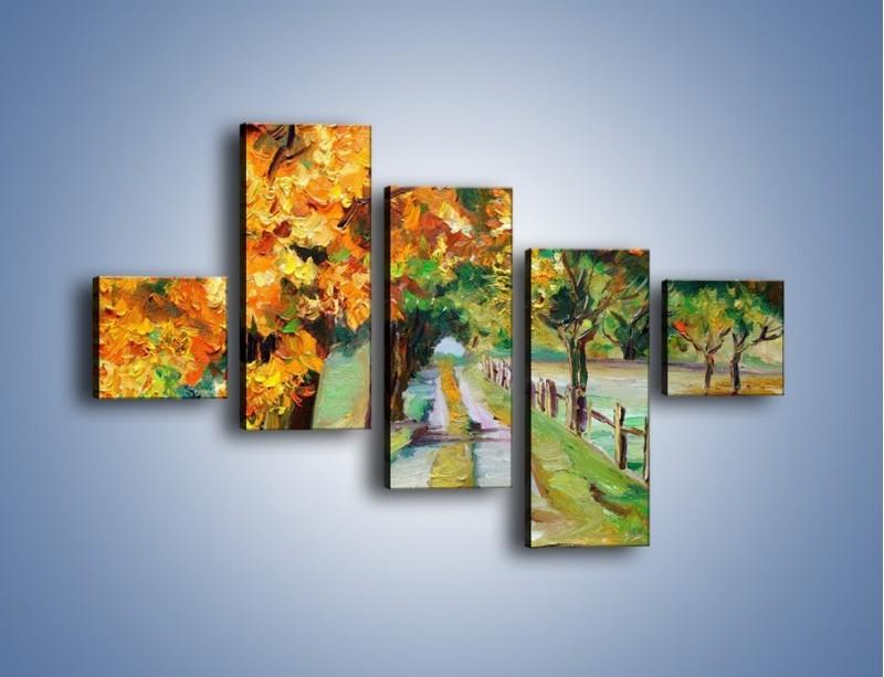 Obraz na płótnie – Aleją wśród drzew – pięcioczęściowy GR487W3