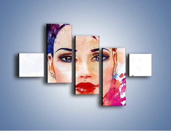 Obraz na płótnie – Piękna kobieta w kolorze – pięcioczęściowy GR499W3