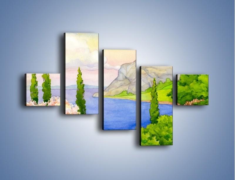 Obraz na płótnie – Krajobraz jak z pocztówki – pięcioczęściowy GR541W3