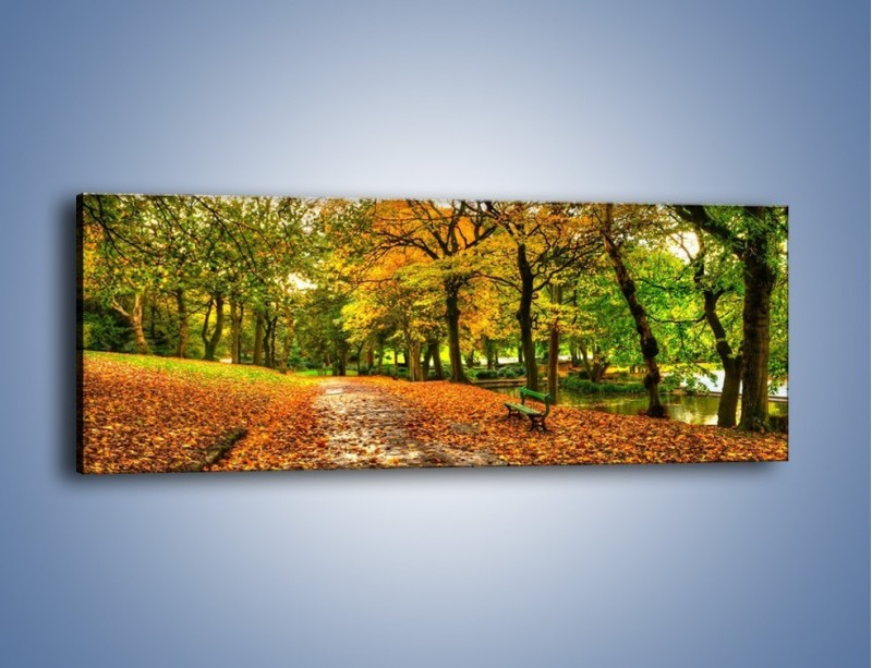 Obraz na płótnie – Piękna jesień w parku – jednoczęściowy panoramiczny KN1098A