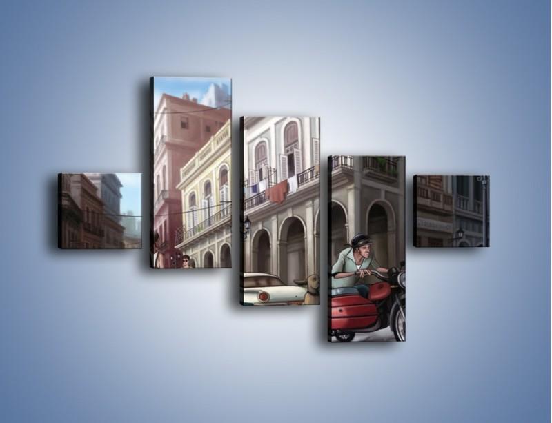 Obraz na płótnie – Codzienne życie na kubie – pięcioczęściowy GR627W3