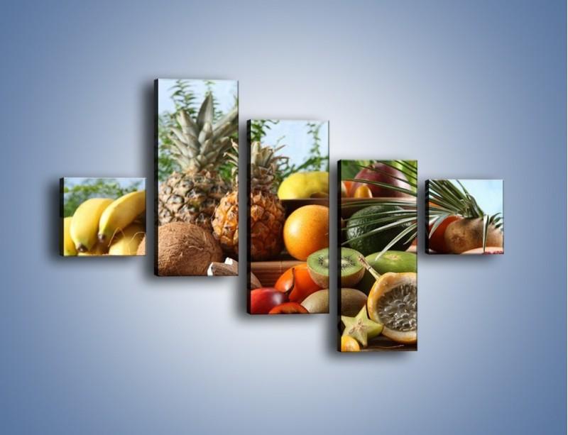Obraz na płótnie – Mix owocowy na drewnianym stole – pięcioczęściowy JN009W3