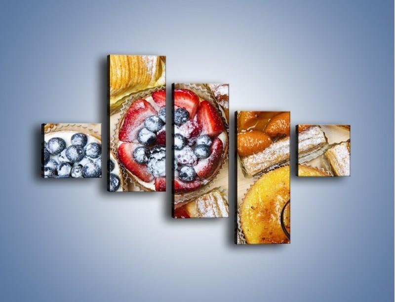 Obraz na płótnie – Kolorowe wypieki z dodatkiem owoców – pięcioczęściowy JN032W3