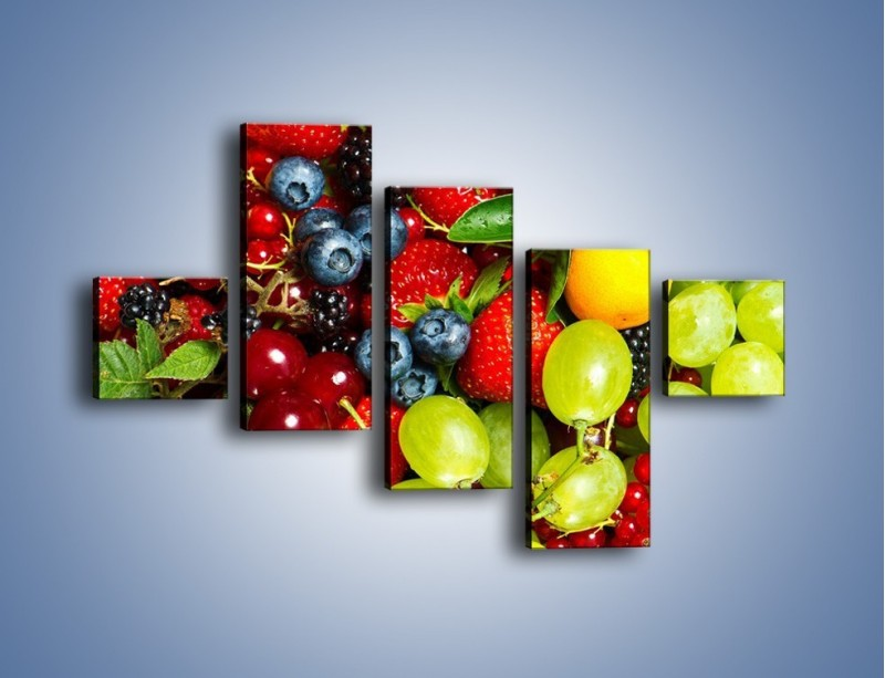 Obraz na płótnie – Wymieszane kolorowe owoce – pięcioczęściowy JN037W3