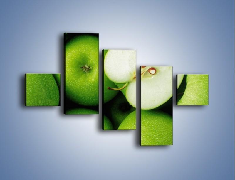 Obraz na płótnie – Zielone jabłuszka – pięcioczęściowy JN039W3
