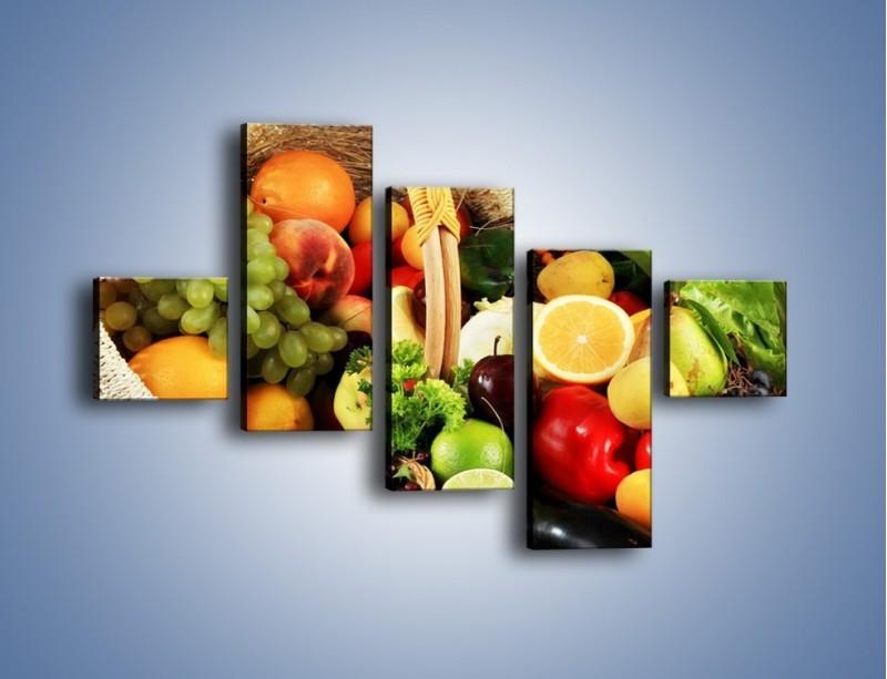 Obraz na płótnie – Kosz pełen owocowo-warzywnego zdrowia – pięcioczęściowy JN059W3